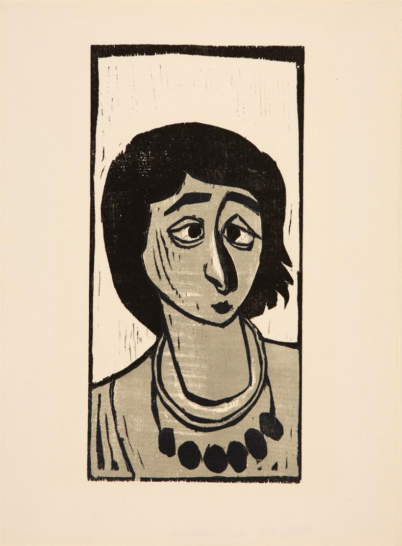 Otto Pankok. Tatjana I. 1948. Farbholzschnitt. Signiert. WH 264. + Beilage:  Zigeunerin Hoto 1947 / Tomasa 1950. 2 Blatt Holzschnitte. Nachlassstempel. WH 207 bzw. 347 B