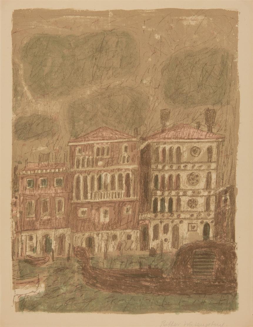 Max Peiffer Watenphul. Venedig, Palazzo Dario. 1951 /  Venedig, Blick auf den Canal Grande. 1972. 2 Blatt Farblithographien. Jeweils signiert. Nicht num. bzw. Ex. 211/500. D 14 bzw. D 120.