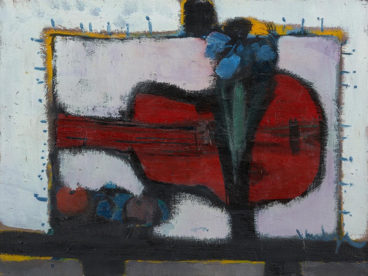 Friedrich Vordemberge. Stillleben mit Gitarre, Früchten und Blumen. Öl /Lw. Signiert.