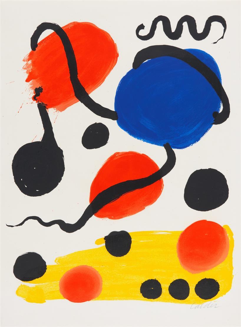 Alexander Calder. Ohne Titel (Circles). Farblithographie. Signiert.