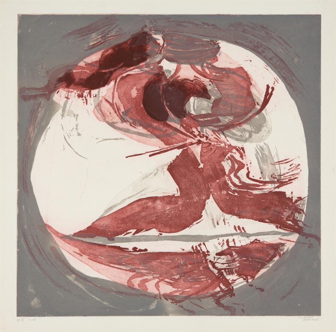 Hann Trier. Echo. 1965. Mappe mit 6 Blatt (Farb)-Aquatintaradierungen. Jeweils signiert. Ex. 12/20.