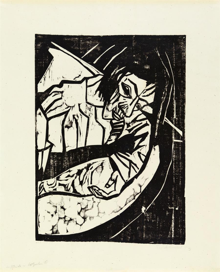 Erich Heckel. Müde. 1913. Holzschnitt. Signiert. Dube 265 II.