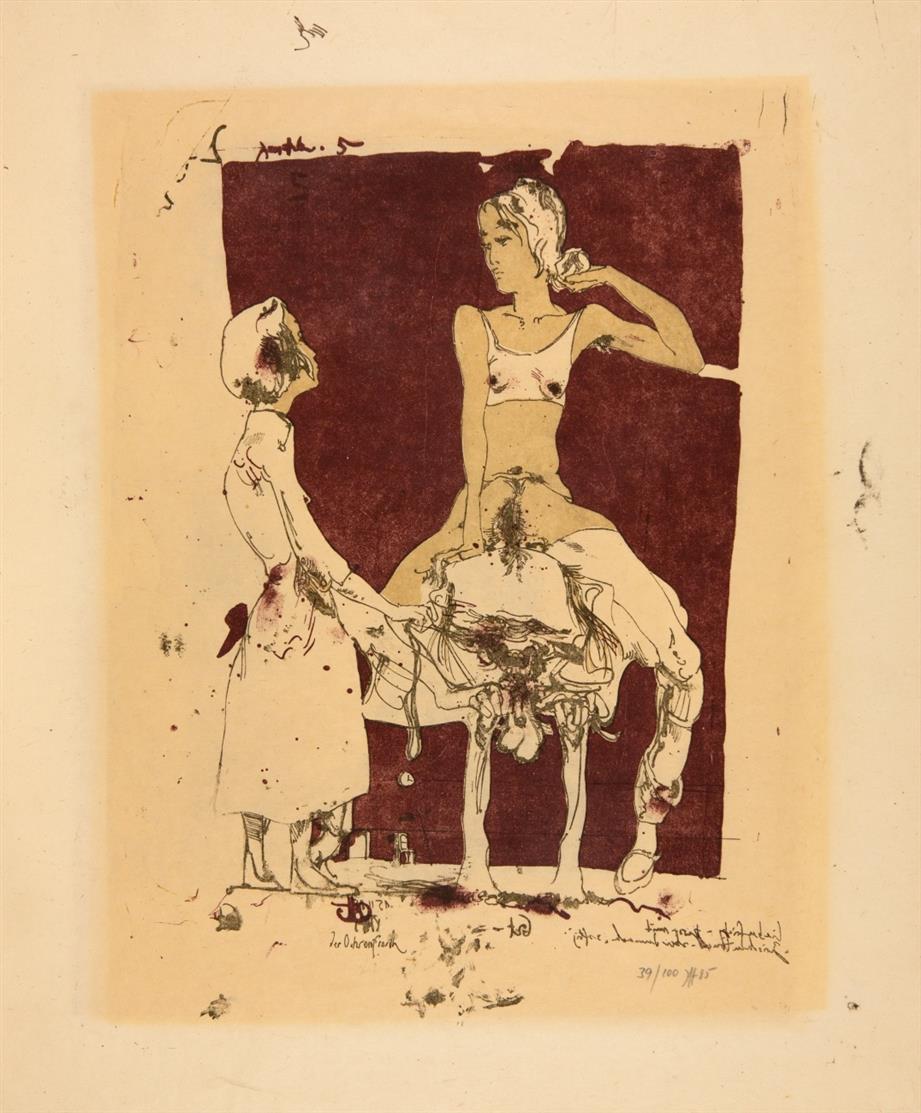 Horst Janssen. Der Ochsenfrosch. 1985. Farblithographie. Signiert. Ex. 39/100.