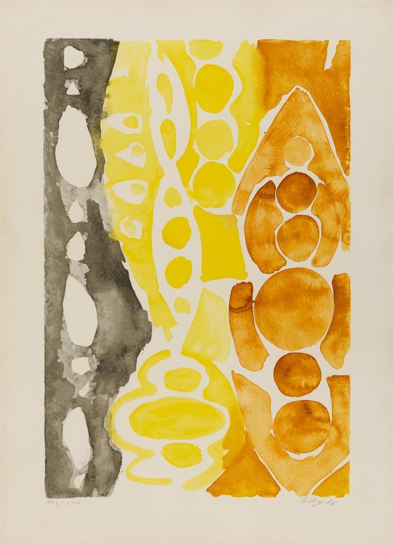 Ernst Wilhelm Nay. Siebdruck 1966 - 1 (NOR). 1966. Farbserigraphie. Signiert. Ex. 133/200. Gabler 85.