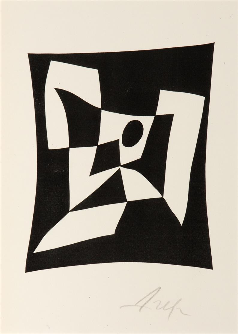 Hans Arp. Knossos. 1956 (1960). Reproduktion nach einem Holzschnitt. Eines von 300 Ex. Signiert. Arntz 300.