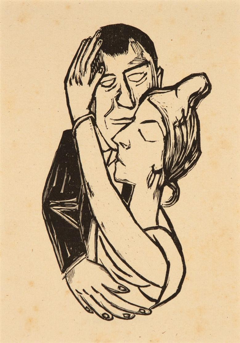 Max Beckmann. Tanzende. 1922. Lithographie. Hofmaier 228 B b. + Beilage: Globus und Muschel. Radierung. Später Abzug, unsigniert. Vgl. Hofmaier 311.