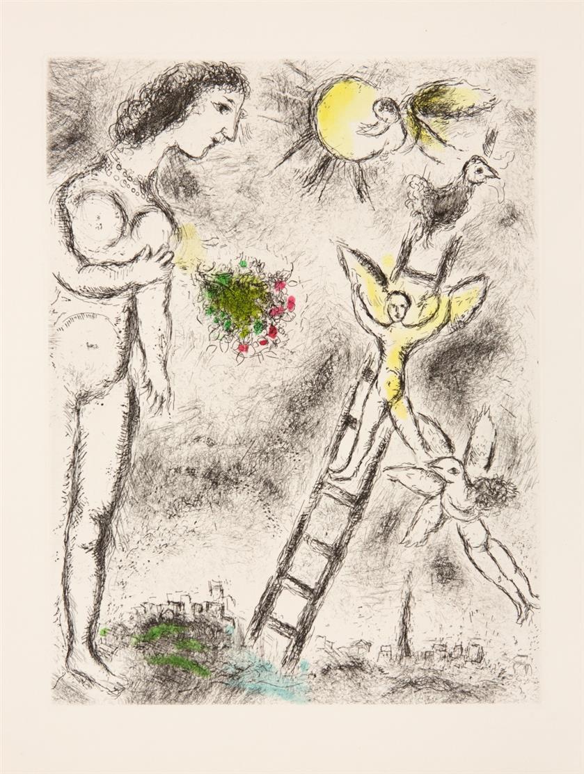 Marc Chagall. Aus: Celui qui dit les choses sans rien dire. 1975-76. Farbaquatintaradierung. Cramer, aus 99.