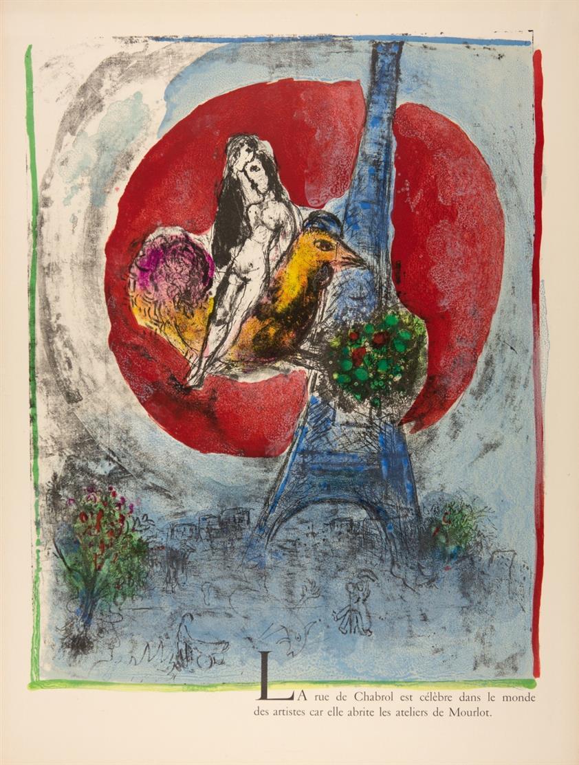 Marc Chagall. Les amoureux de la Tour Eiffel. 1960. Farblithographie. Eines von 125 Ex.