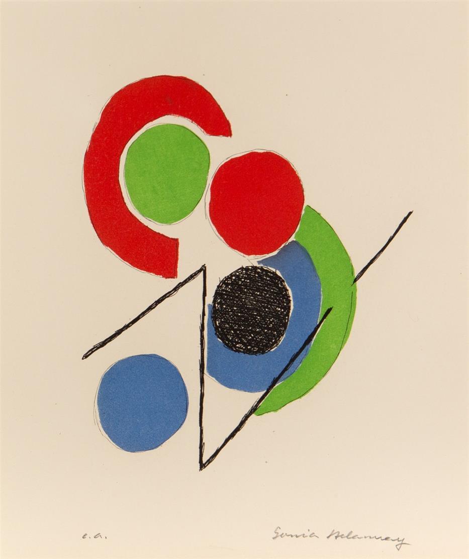 Sonia Delaunay-Terk. Aus: Juste Présent. 1961. 2 Blatt, Farbaquatinta bzw. Probeabzug der Schwarzplatte. Je signiert. Ex. e.a. bzw. nicht bezeichnet.