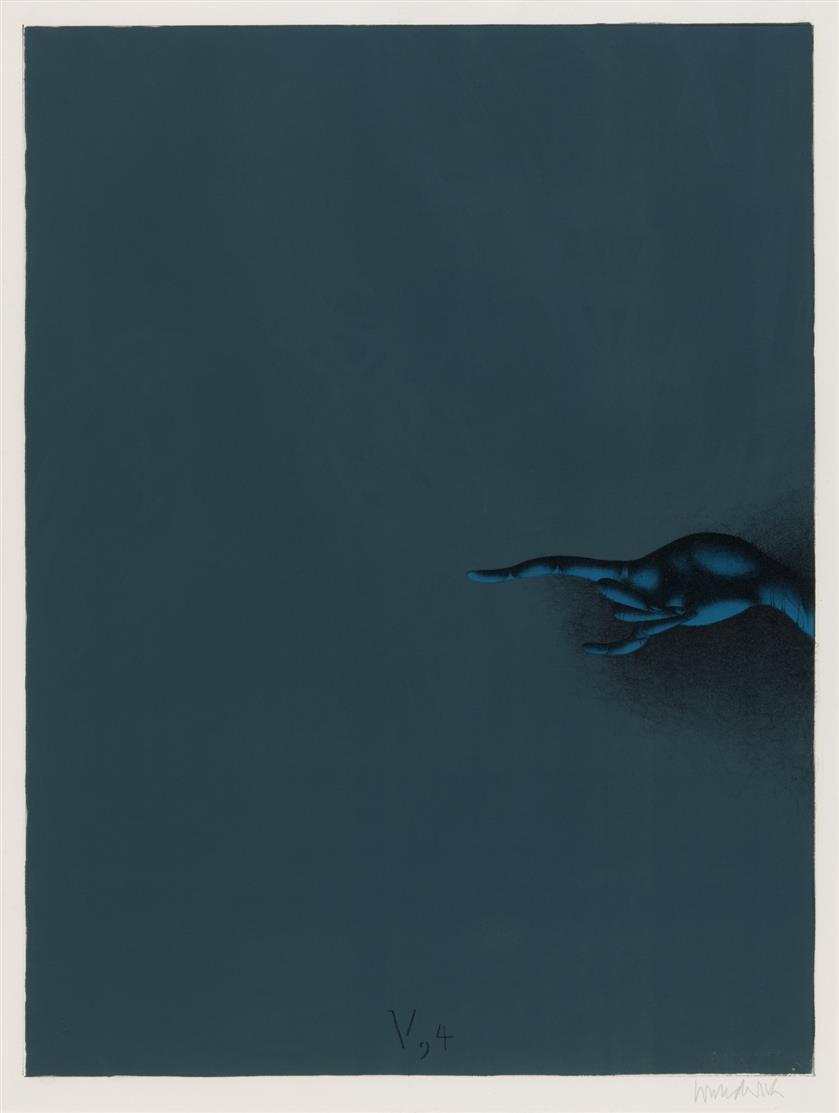 Paul Wunderlich. Salomo V.4: Aber mein Freund steckte seine Hand durchs Riegelloch. 1969. Farblithographie. Signiert.