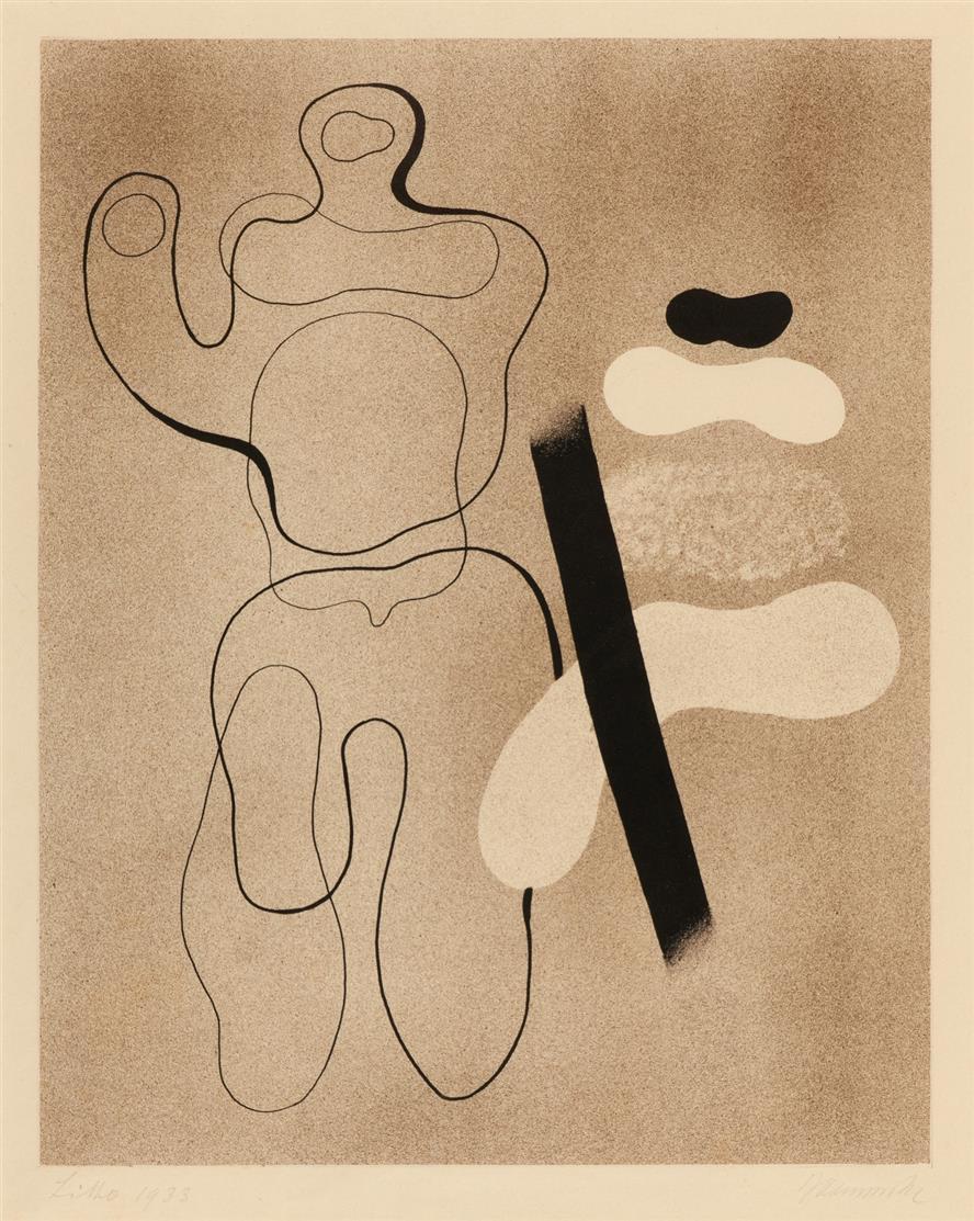 Willi Baumeister. Linienfigur auf Braun. 1935. Lithographie. Signiert. Spielmann/Baumeister 36 b.