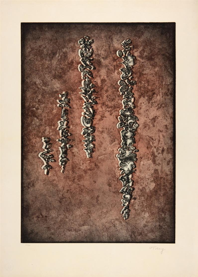 Mark Tobey. The unknown Pair, 1971 / Thanksgiving leaf, 1971 / They've come back I + II, 1972 -1975 / Companionship, 1974. 5 Blatt.