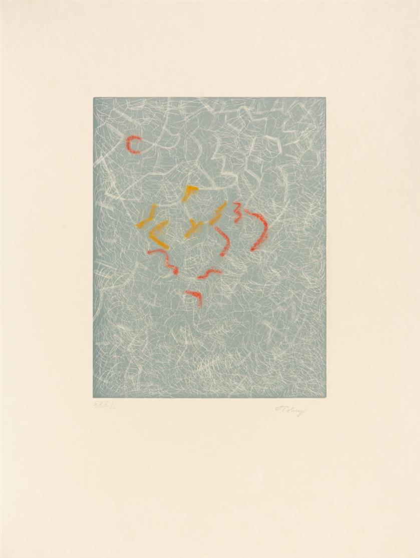 Mark Tobey. Hommage to Tobey (The Awakening-Night / Winter Leaves / To Live). 1974. 3 Blatt (Farb)-Radierungen. Signiert. Ex. VII/L (2)  bzw. XXX/L.