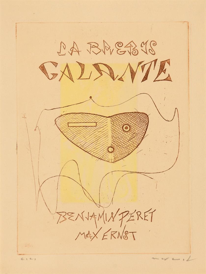 Max Ernst. Zu: Benjamin Péret – Max Ernst, La Brebis galante. 1969. Farbradierung von 2 Platten. Ex. e.e. Signiert. Spies/Leppien 28 I D.