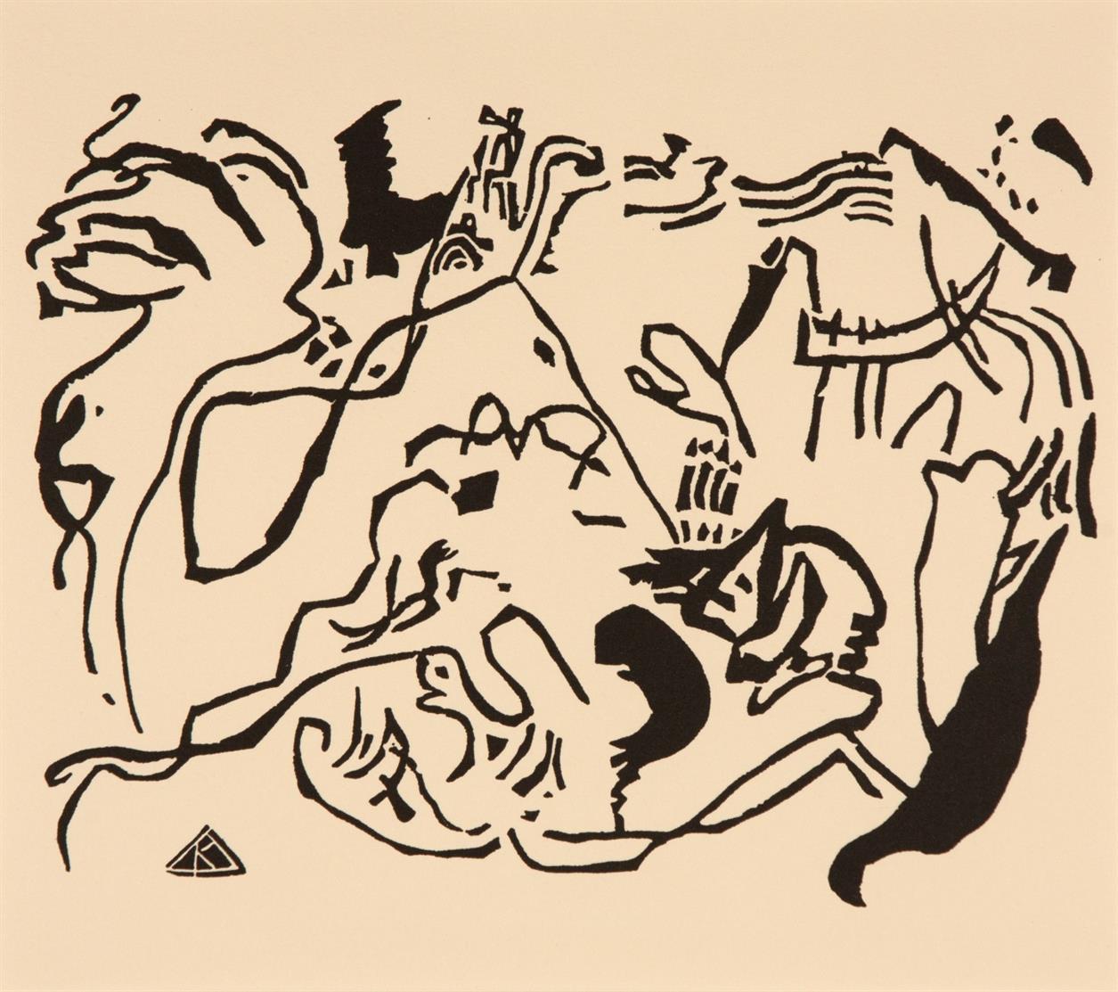 Wassily Kandinsky. Improvisation 7 / Allerheiligen / Große Auferstehung / Jüngster Tag. 4 Blatt Holzschnitte, davon 2 farbig. Posthume Neudrucke, zwischen 1951-75. 1 Blatt mit Atelierstempel.