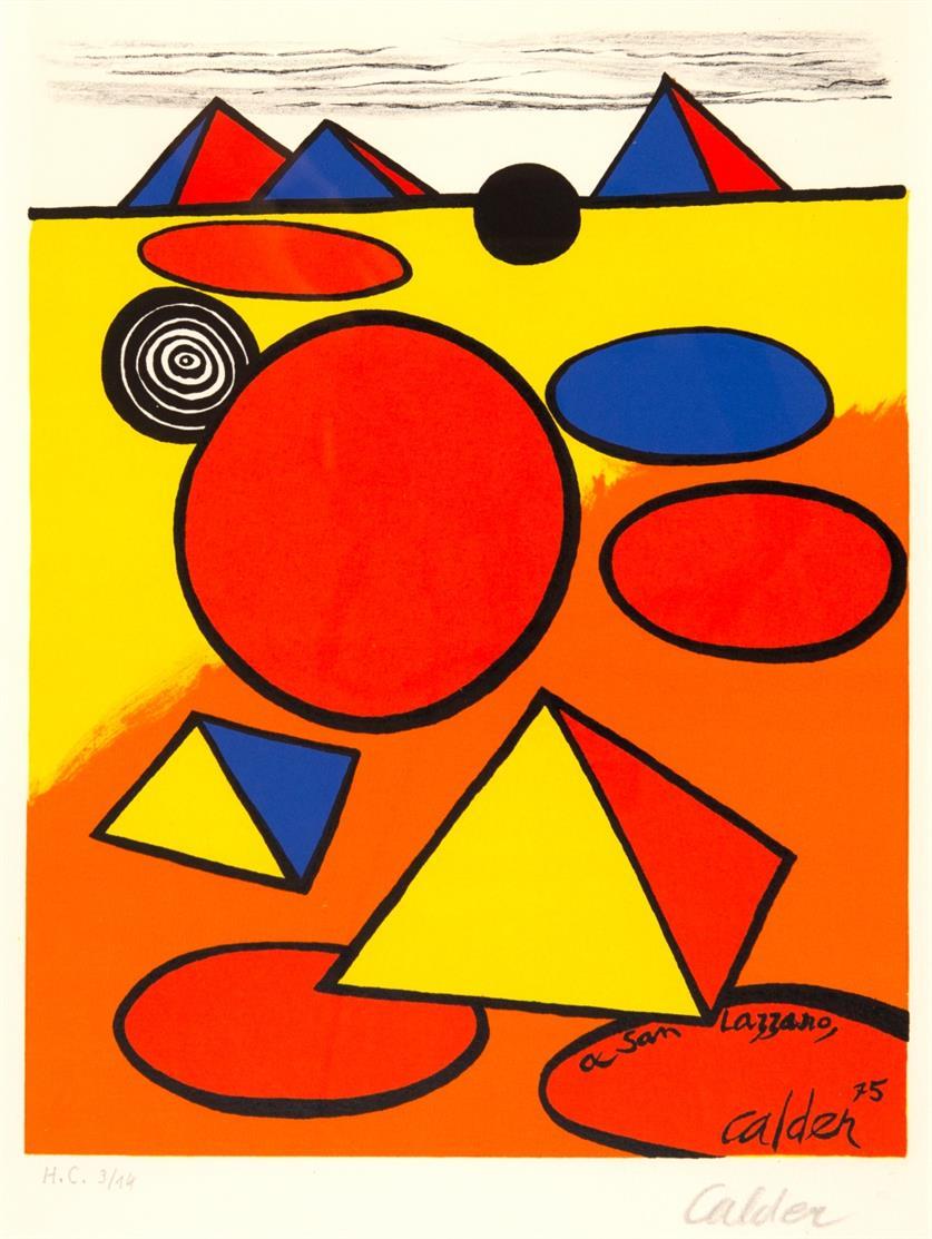 Alexander Calder. Ohne Titel (aus: A San Lazzaro et ses amis). 1975. Farblithographie. Signiert. Ex. H.C. 3/14.