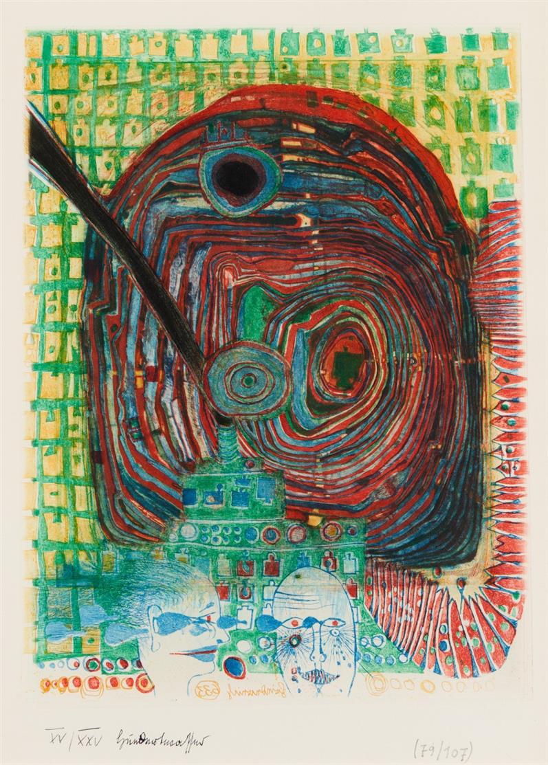 Friedensreich Hundertwasser. Die Seereise I. 1967. Farbradierung. Signiert. Ex. XV/XXV (79/107). Koschatzky 24.