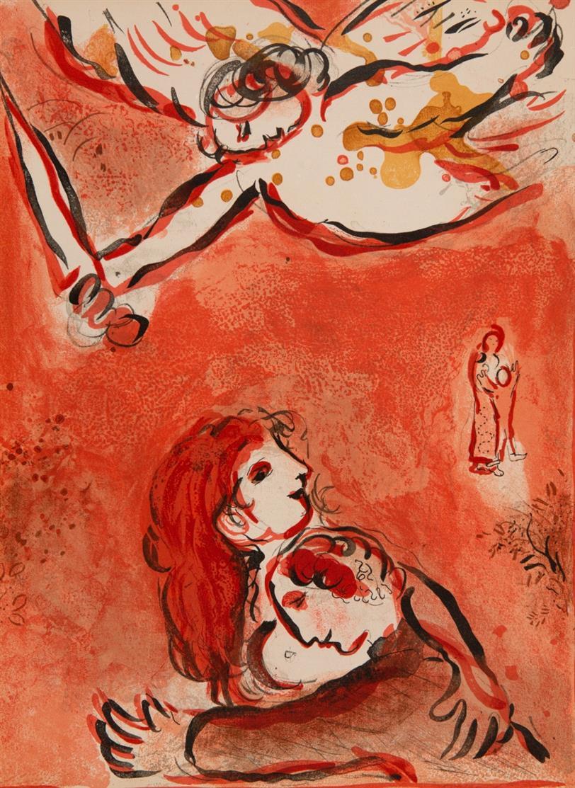 Marc Chagall. Aus: Dessins pour la Bible (Verve 37/38). 1960. 7 Blatt Farblithographien. Cramer aus 42.
