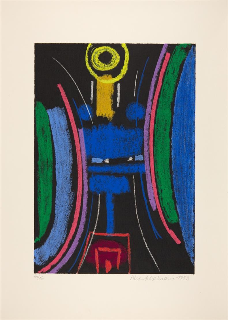 Max Ackermann. Überbrückte Kontinente, 1972 / Sakrales, 1973 / Energie III, 1973. 3 Blatt Serigraphien. Signiert. Versch. Aufl.