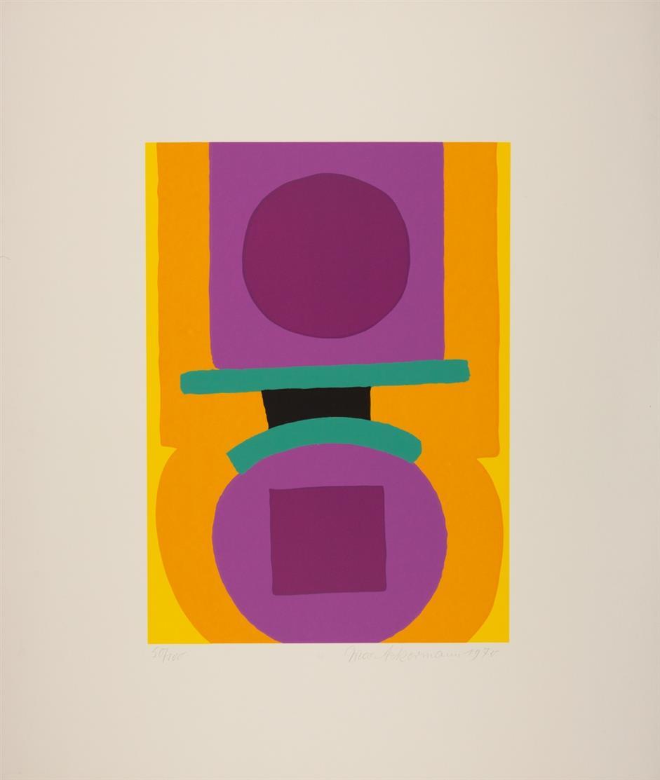 Max Ackermann. Ohne Titel, 1968 / Ohne Titel, 1970 / Das Gold der Äpfel (aus: Im Garten der Hesperiden), 1974. 3 Blatt Serigraphien. Signiert. Versch. Aufl.