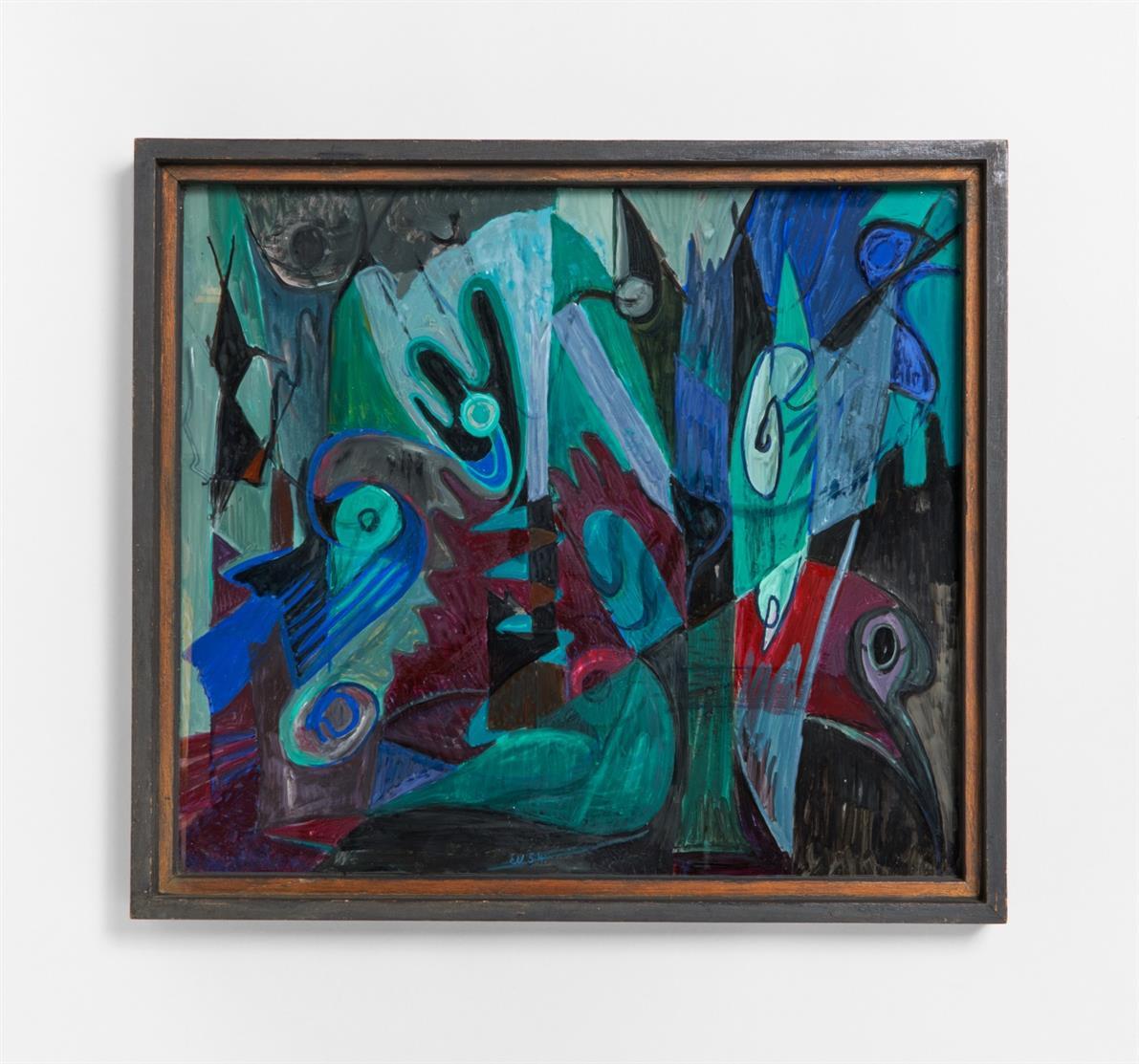 Ernst Weiers. Nächtlicher Wald. 1954. Hinterglasmalerei. Monogrammiert.