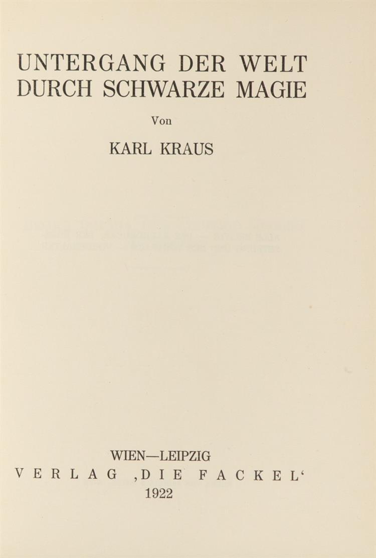 K. Kraus, Untergang der Welt. Wien u. Lpz. 1922.