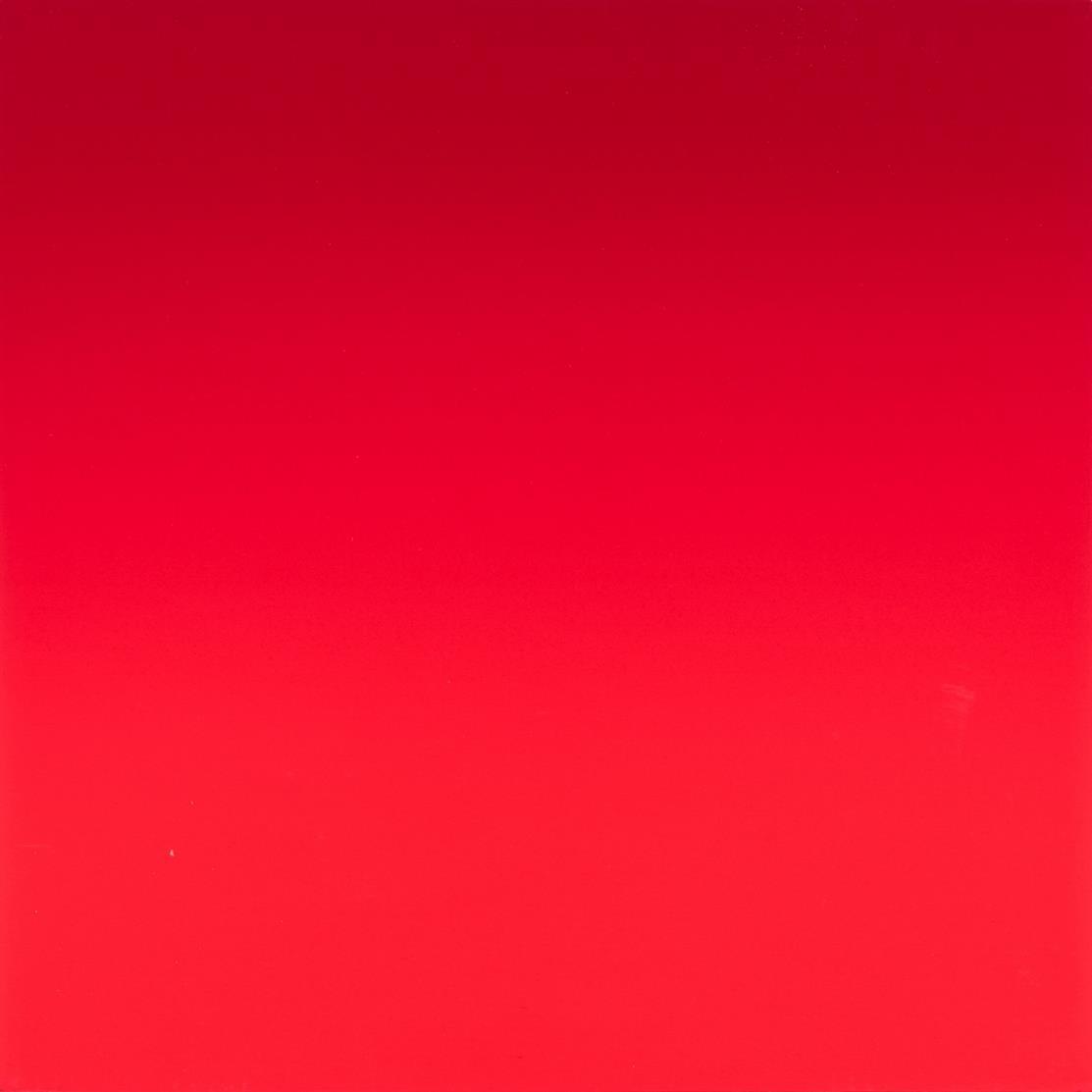 Rupprecht Geiger. Ohne Titel (Multiple Rot moduliert). 2008. Orginalpigmentdruck auf Karton, auf Holz. Signiert. Ex. 15/20.