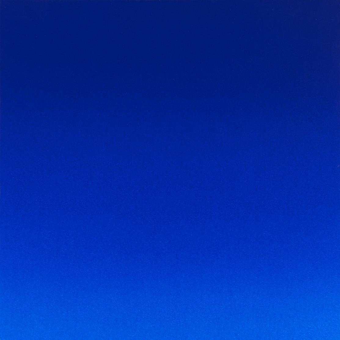 Rupprecht Geiger. Ohne Titel (Multiple Blau moduliert). 2008. Orginalpigmentdruck auf Karton, auf Holz. Signiert. Ex. 15/20.
