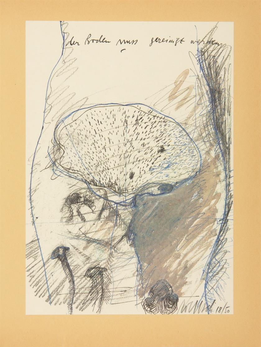 Hartmut Kraft. Dialoge. 1977. Buch mit 9 montierten Offsetlithographien in OrLeinenband. Ex. A 18/50.