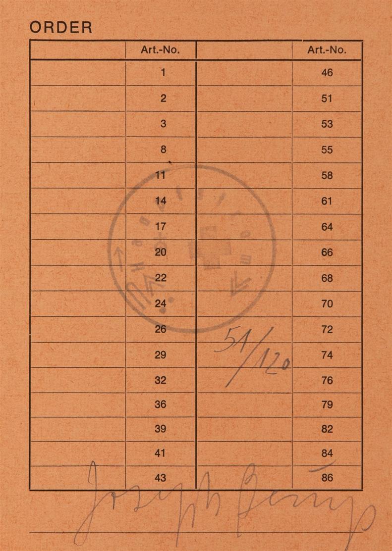 Joseph Beuys. Order. 1973. Bestellkarte, gestempelt. Signiert. Ex. 51/120. Sch. 78.
