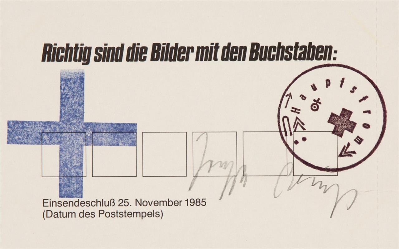Joseph Beuys. Richtig sind die Bilder mit den Buchstaben. 1985. Postkarte, gestempelt. Signiert.