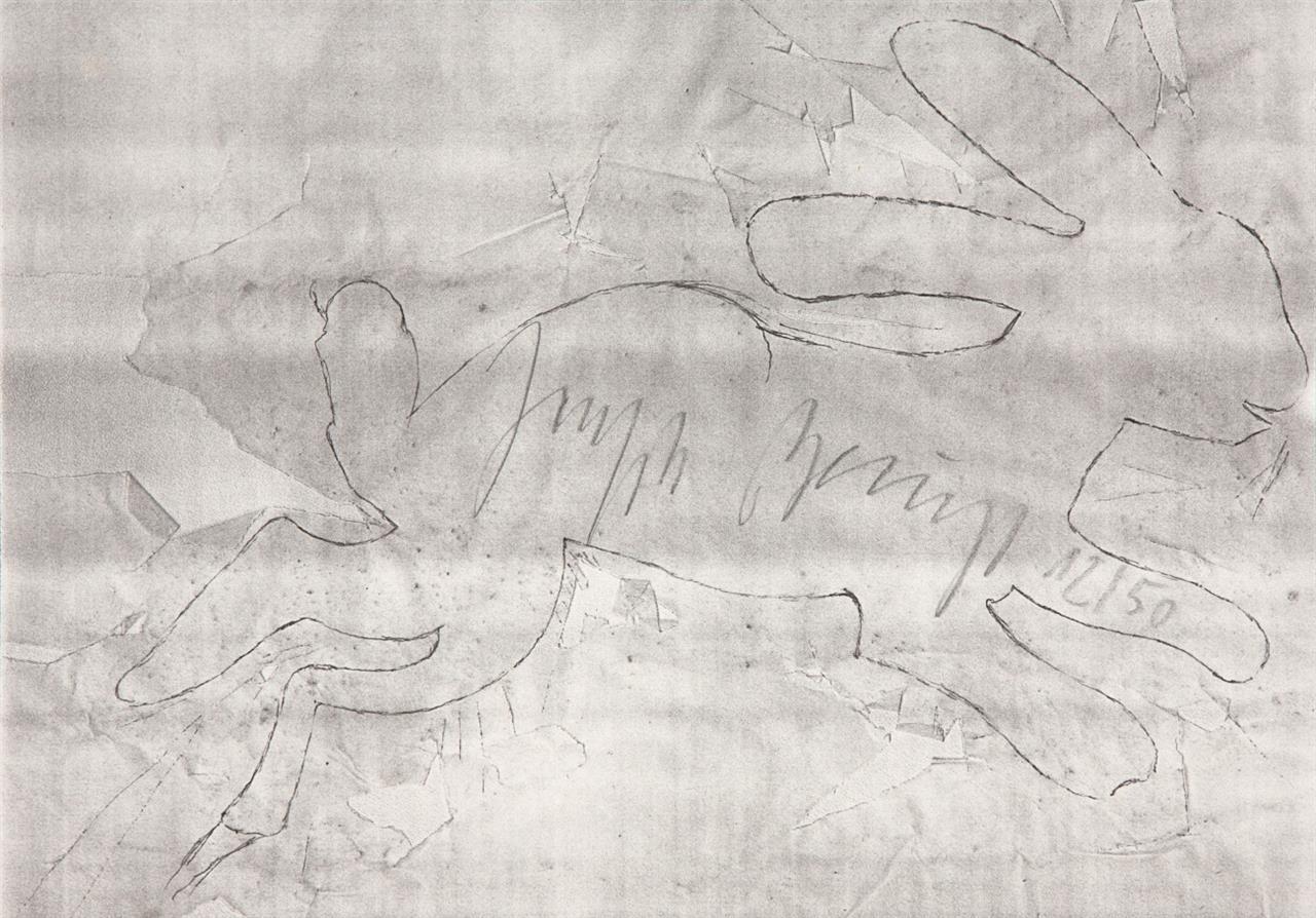 Joseph Beuys. Kleiner Steinhase. 1982. Photokopie. Signiert. Sch. 458.