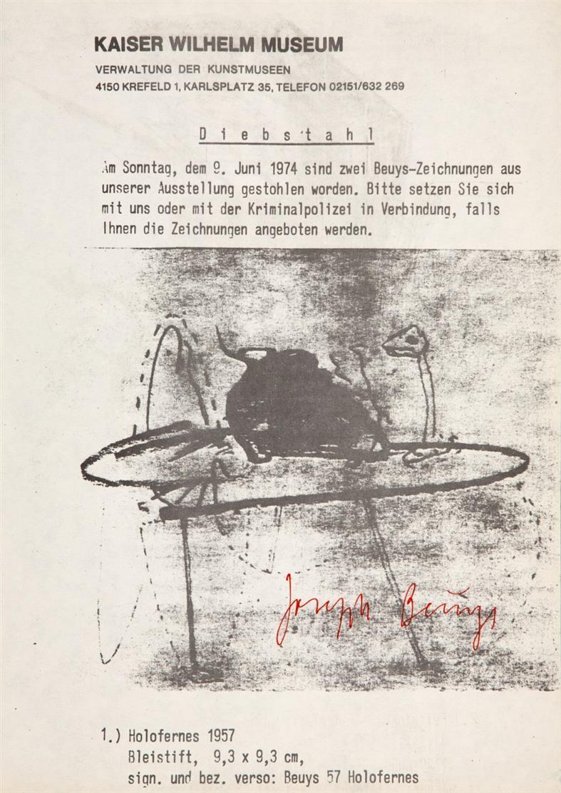 Joseph Beuys. Diebstahl. 1974/77. Informationsblatt. Offset. Signiert. Eines von max. 500 Ex. Sch. 192.