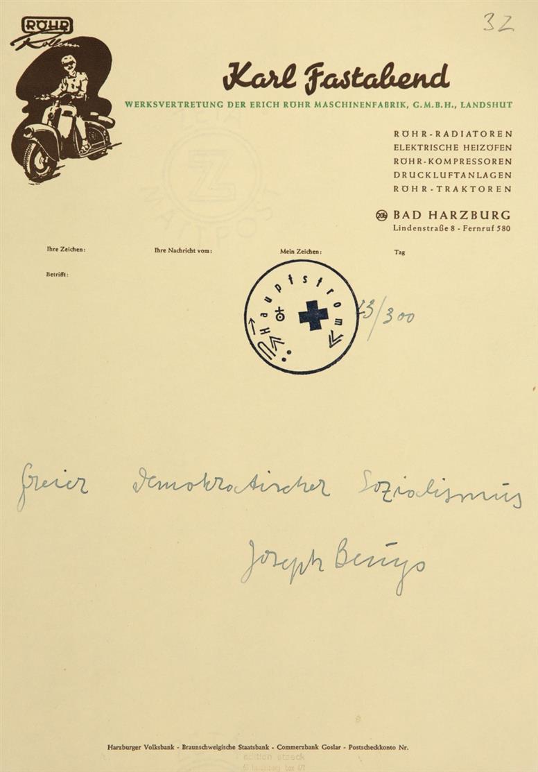 Joseph Beuys. Freier Demokratischer Sozialismus. 1971. Briefbogen mit hs.Text, gestempelt. Signiert. Ex. 23/300. Sch. 32.