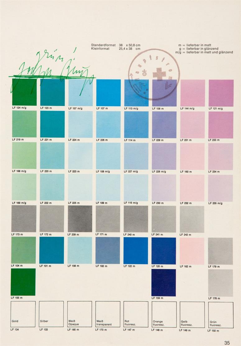 Joseph Beuys. Grün!. Farbmusterbogen, gestempelt. Signiert.