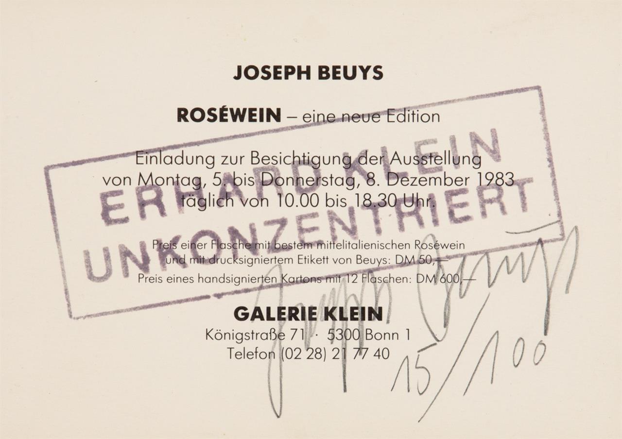 Joseph Beuys. Erhard Klein unkonzentriert. 1984. Einladungskarte, überstempelt. Signiert. Ex. 15/100. Sch. 502.
