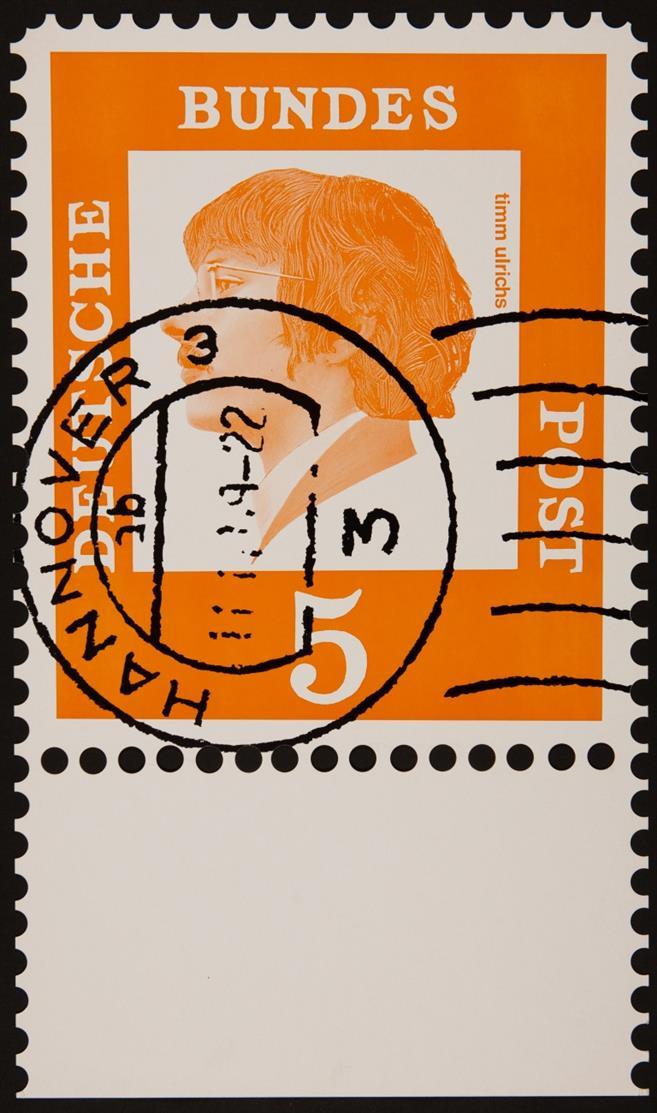 Klaus Peter Brehmer. Einzelmarke Art B No 016B. 1967 / Einzelmarke Art B 037. 1967 / Deutsche Bundespost - Timm Ulrichs. 3 Blatt Farbserigraphien mit Stanztechnik. Jeweils verso signiert. Nicht nummeriert (2x) bzw. Ex. 78/150.