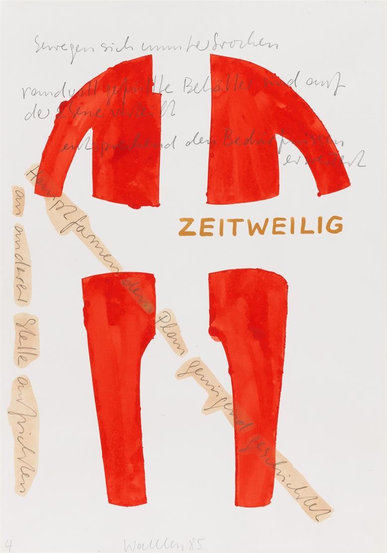 Franz Erhard Walther. Behälter fehlt (Wort-Skulptur). 1985. Aquarell und Bleistift. Signiert. Ex. 4.