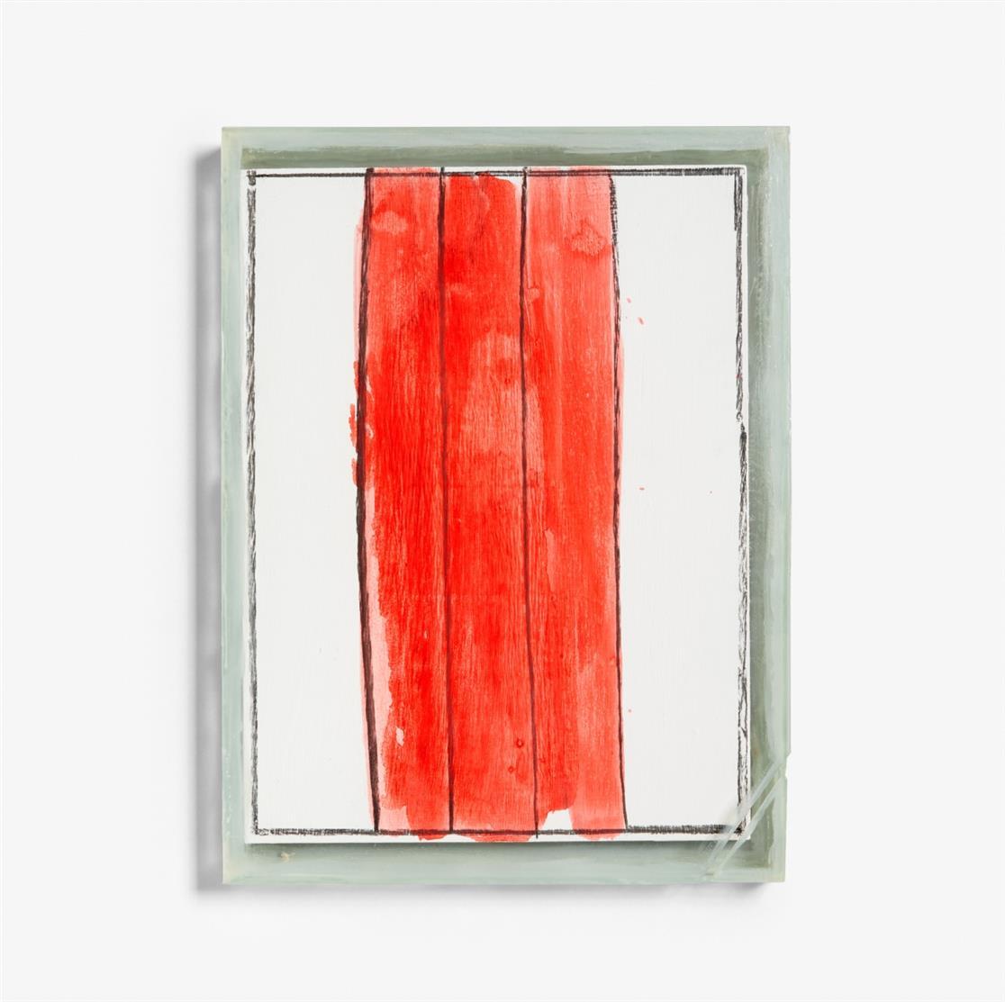 Clemens Weiss. Installationssegment. 1989. Bemalte Holzplatte in Glaskasten, in OrKarton. Ex. 21/24. Signiert. + 3 Beilagen: fragmente / fragmente / in der stadt und auf dem lande. 3 Kataloge mit Glasplatten, Glaseinband bzw. in Glasschuber.