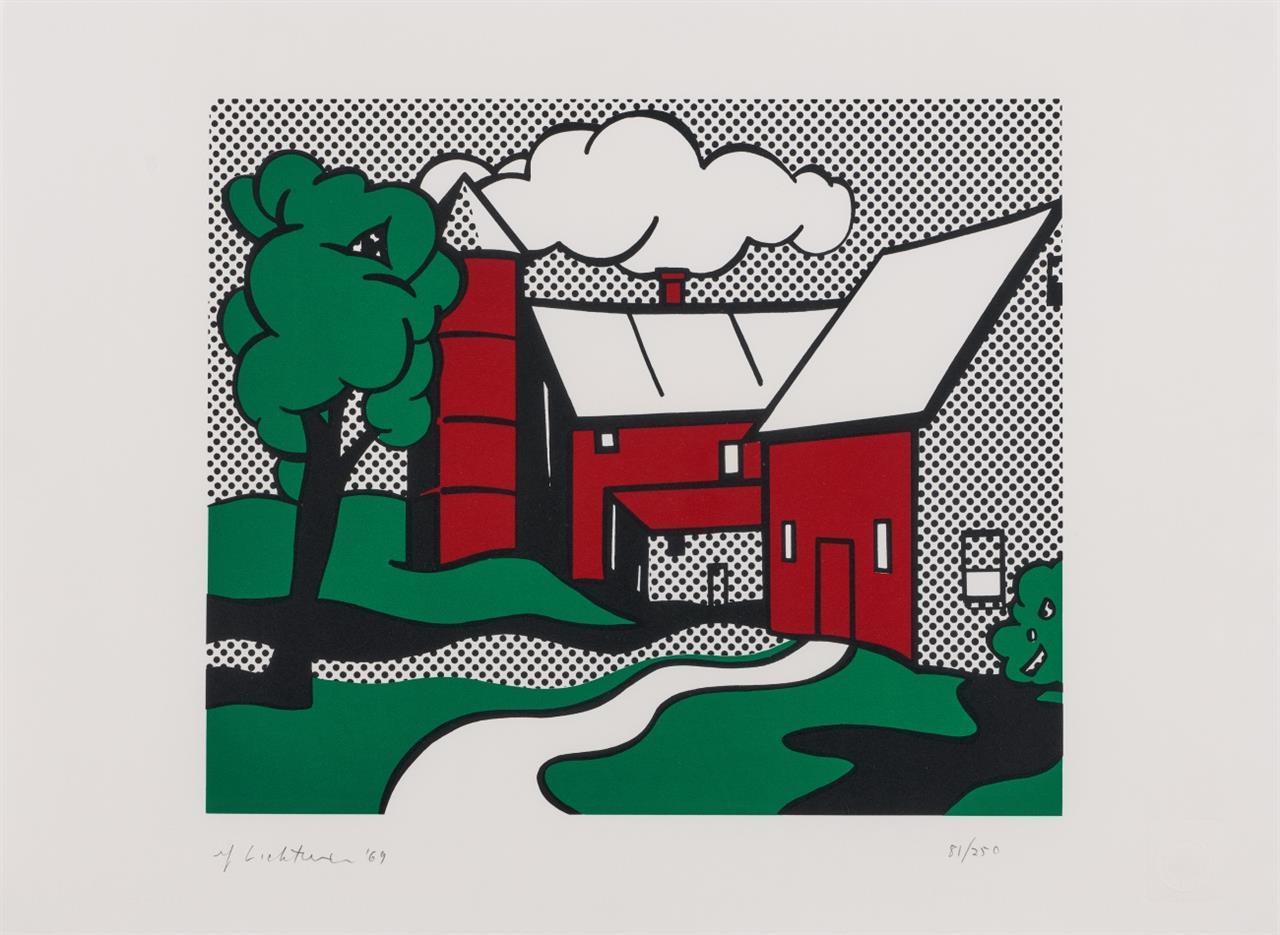 Roy Lichtenstein. Red Barn. 1969. Farbserigraphie. Signiert.