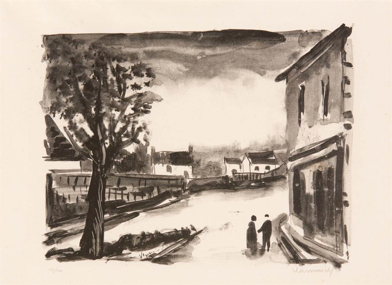Maurice de Vlaminck. US, La Place. 1924. Lithographie. Signiert. Ex. 55/100.