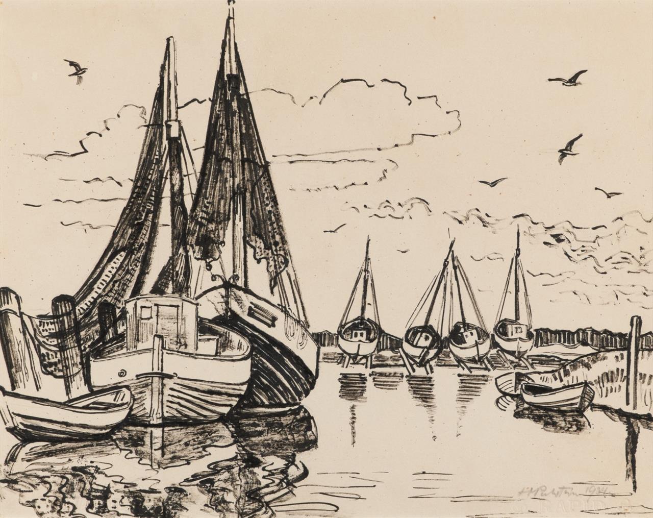 Hermann Max Pechstein. Fischerboote auf Leba. 1934. Tusche. Signiert.