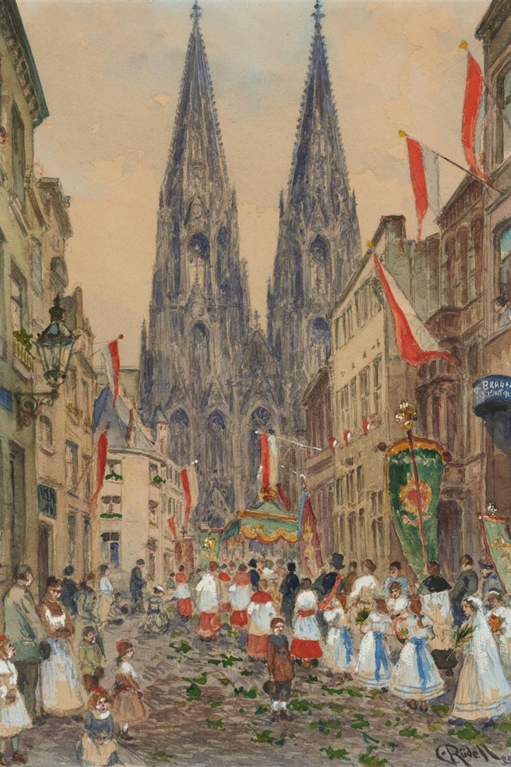 Carl Rüdell. Prozession in Köln. Aquarell. Signiert.