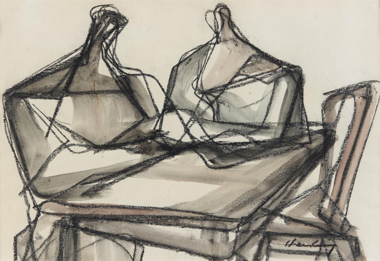 Karl Hartung. Zwei Personen am Tisch. 1953. Gouache über Kohle. Signiert.