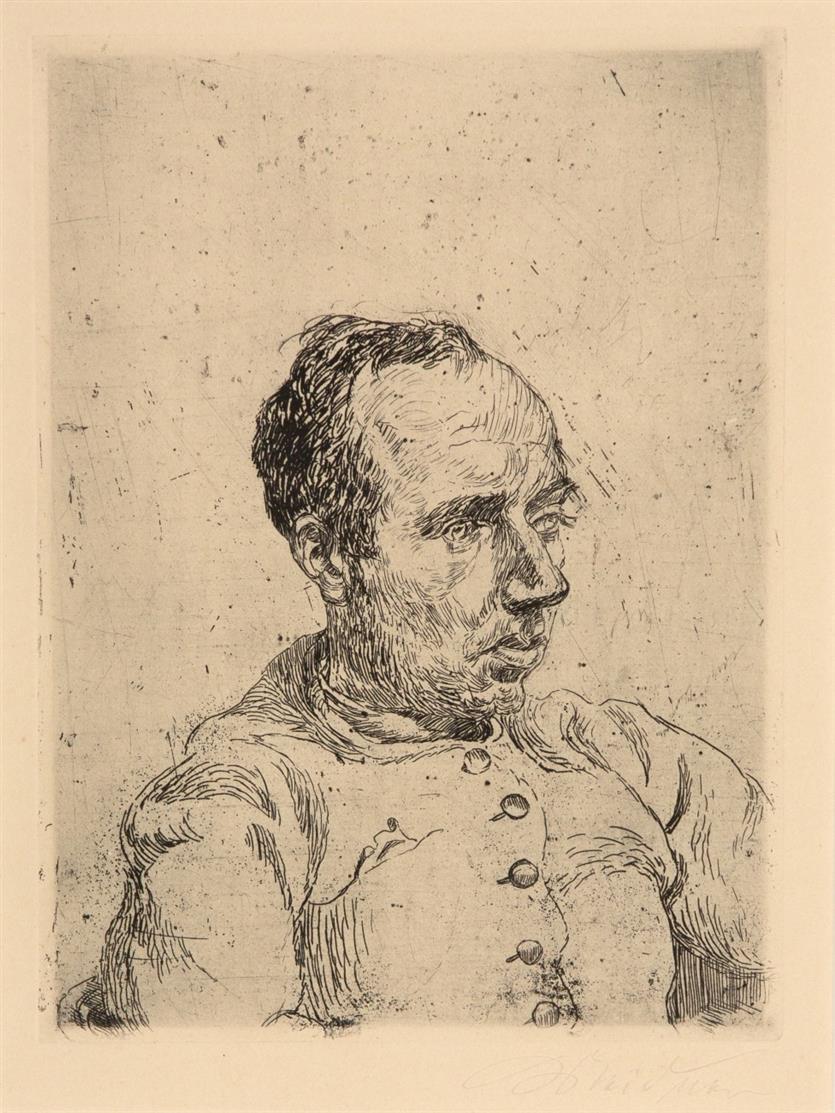 Ludwig Meidner. Porträt Johannes R. Becher. Radierung. Signiert.