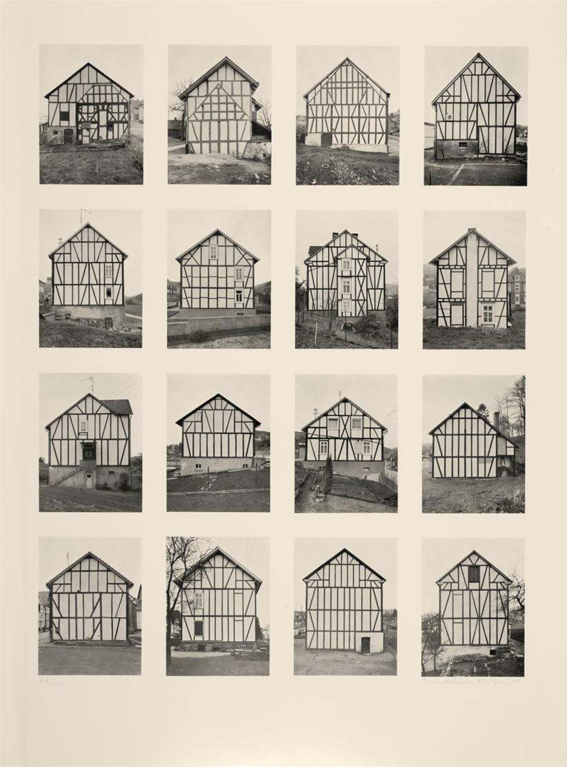 Bernd u. Hilla Becher. Fachwerkhäuser. 1974. Offsetlithographie. Signiert. Ex. 76/100.