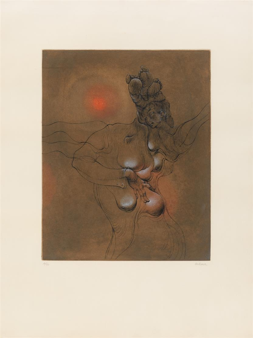 Hans Bellmer. Der gesunde Menschenverstand (Le Bon Sens). 1964. Farbaquatinta. Signiert. Ex. 17/60.  Mandiargues 50.