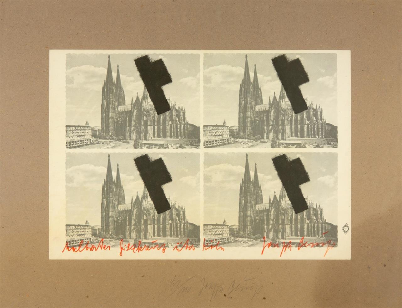 Joseph Beuys. Halbiertes Filzkreuz über Köln.1977. Offset auf Andruckbogen. Signiert. Ex. 41/110. Sch. 231.