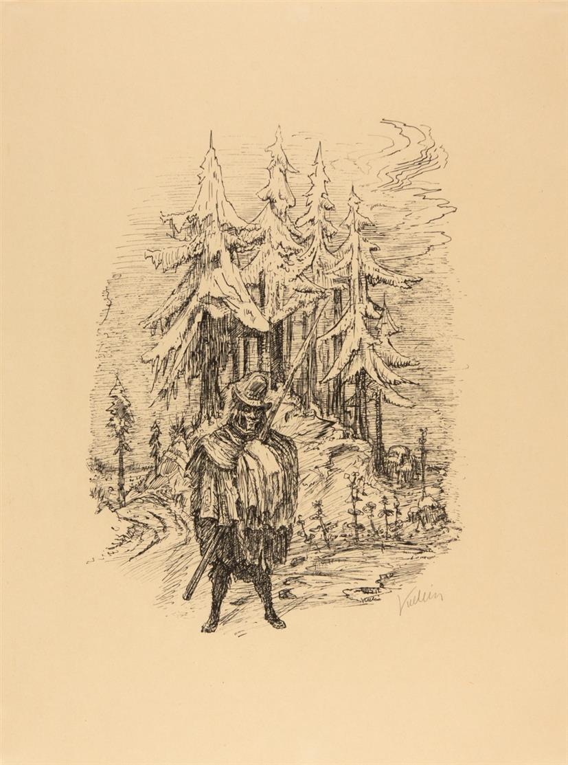 Alfred Kubin. Der wilde Jäger. 1924. Federlithographie. Signiert. Eines von 175. Ex. R. 260; H. 87.