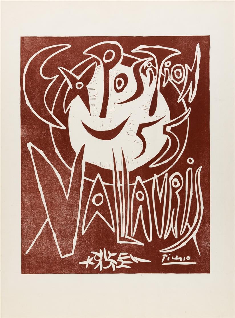 Pablo Picasso. Ausstellung Vallauris. 1955. Plakat. Farblinolschnitt. Eines v. 600 Ex. Czwiklitzer 17.